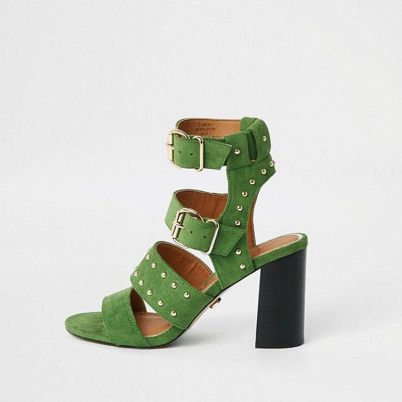SALE - Green wide fit suede stud block heel sandals!