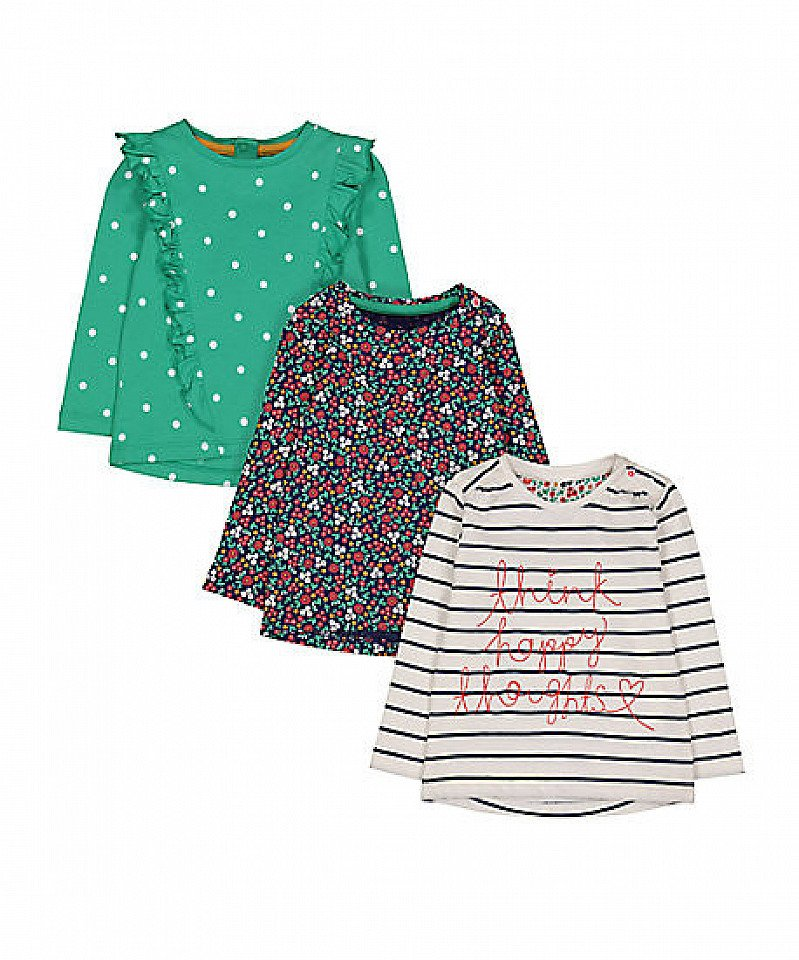 SAVE £2.50 - stripe, spot and floral t-shirts - 3 pack!