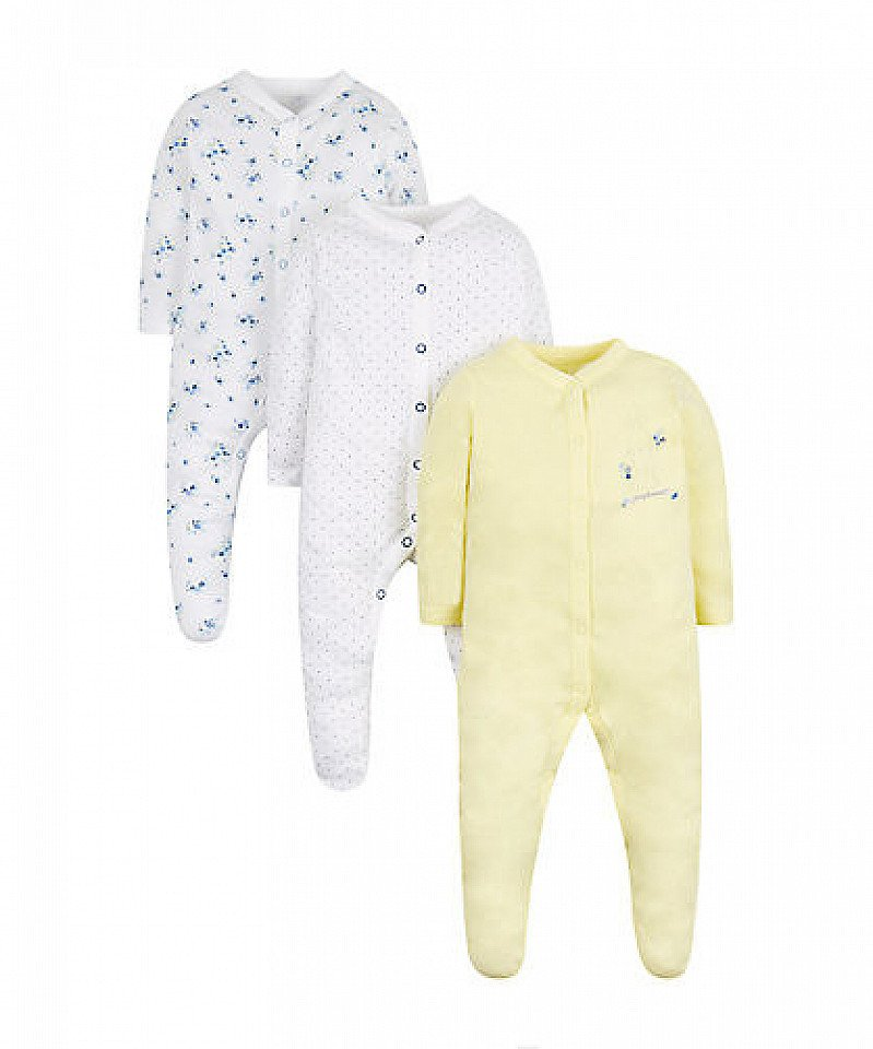 SAVE £4.00 - floral and bunny sleepsuits - 3 pack