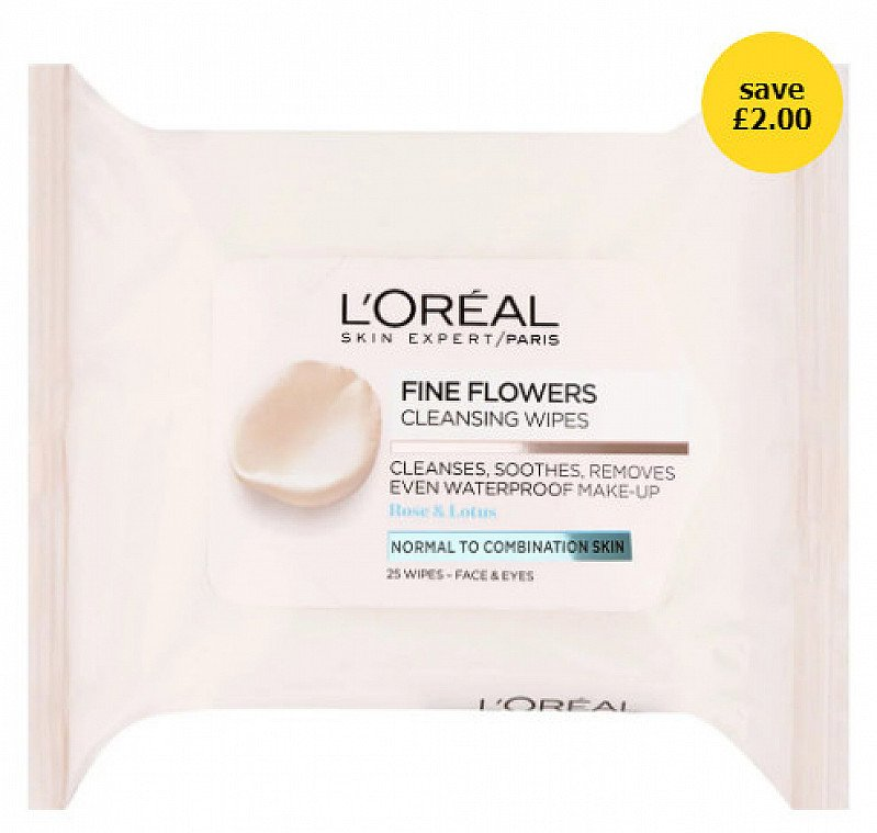 OFFERS - L'Oreal Paris Fine Flowers Cleansing Wipes Combination Skin 25pk!