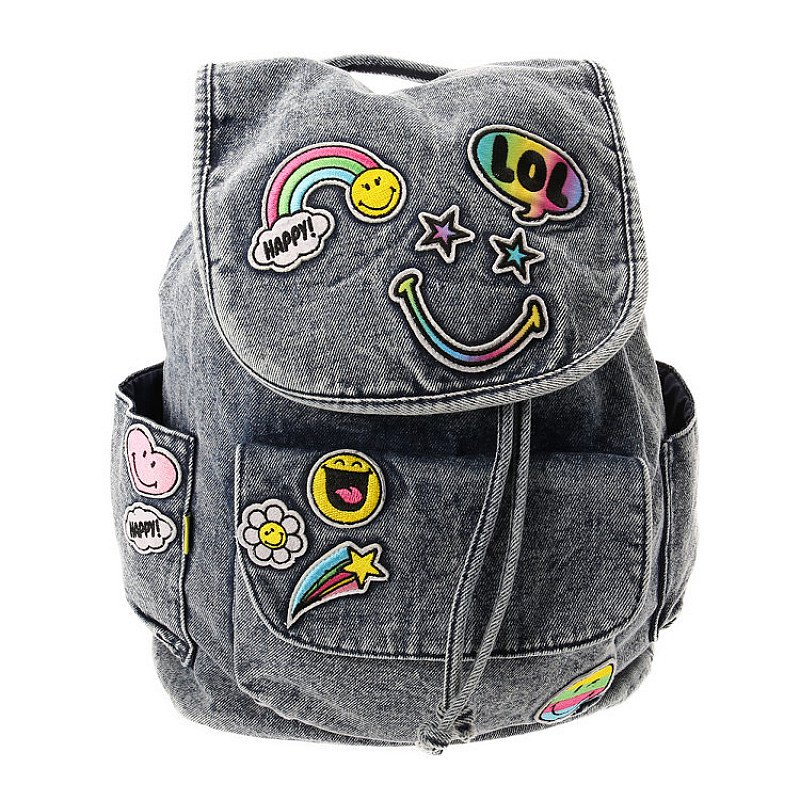 Save on this Smiley Denim Emoticon Patch Backpack