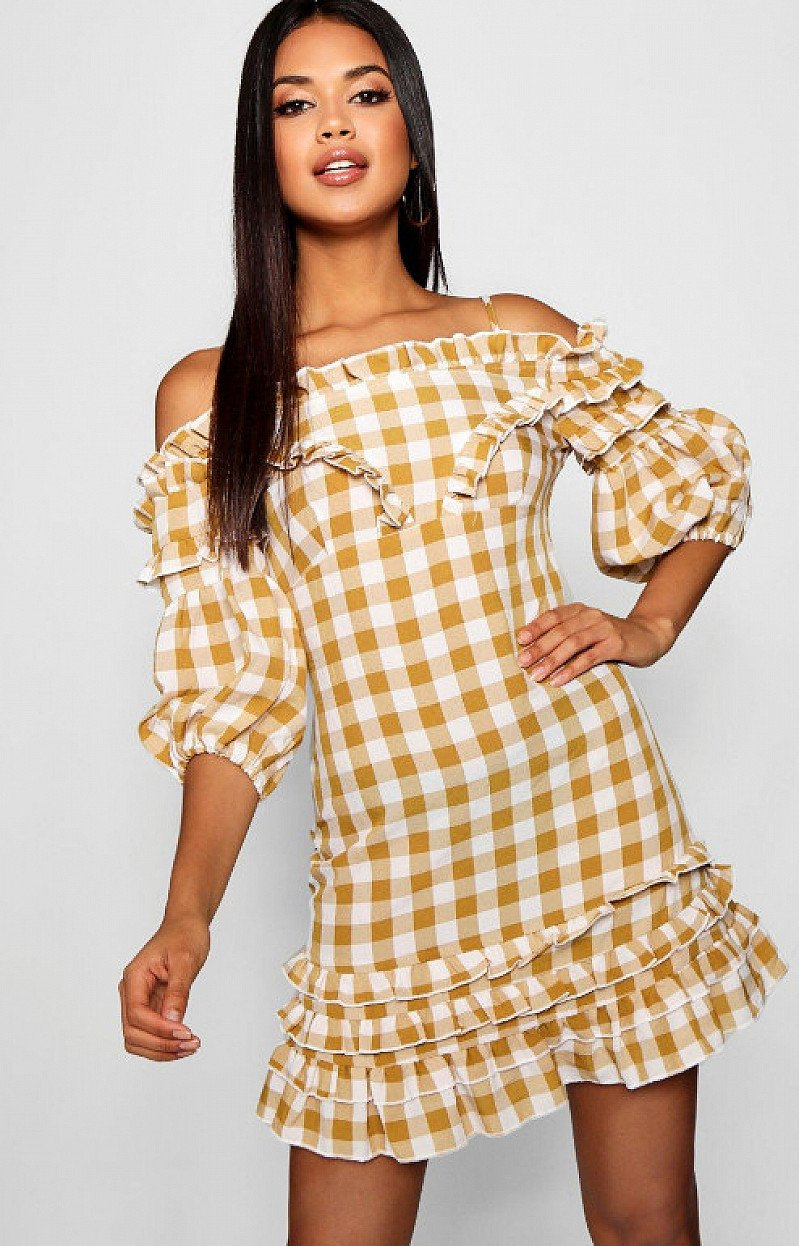 Save on this Ruffle Front Off The Shoulder Gingham Mini Dress
