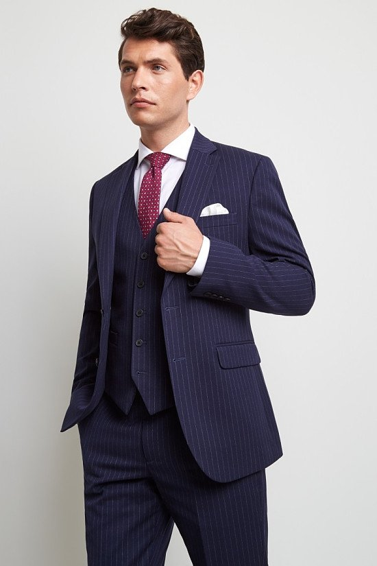 Save on this amazing Moss 1851 Tailored Fit Navy Stripe Suit