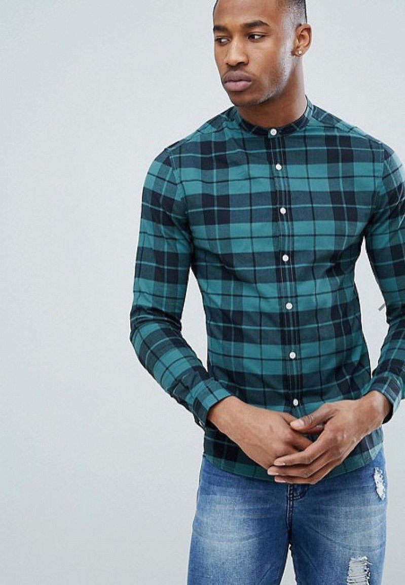 Save on this ASOS DESIGN skinny check shirt with grandad collar