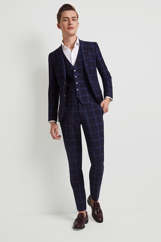 Save on this Moss London Skinny Fit Blue Shadow Check Suit