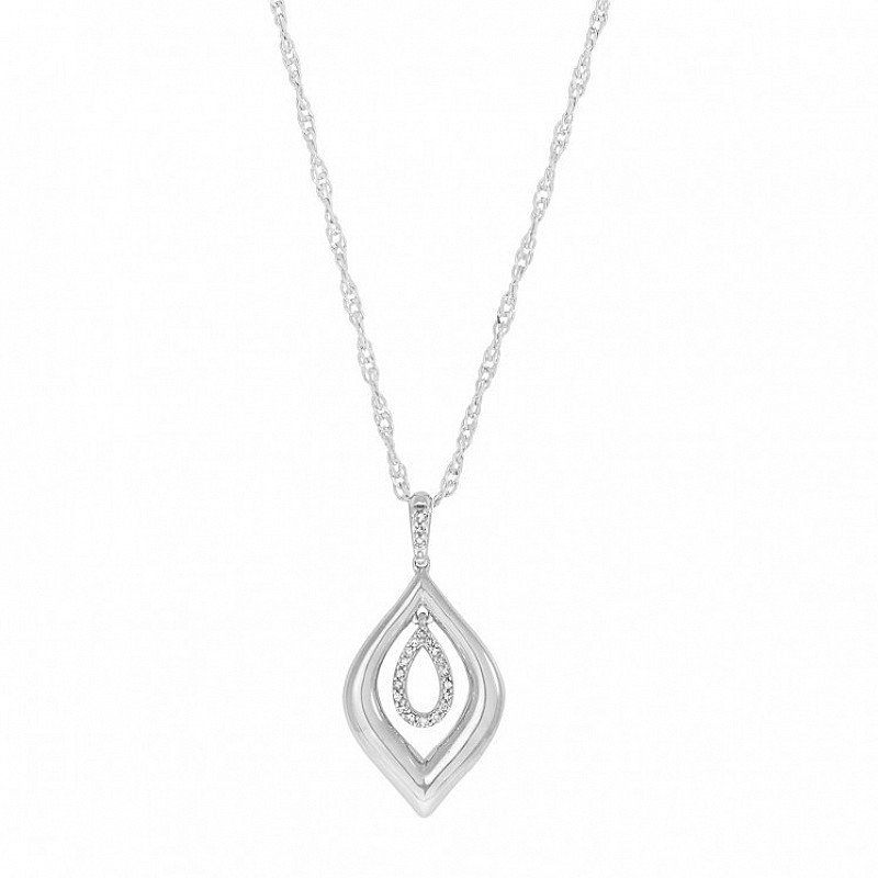 9ct White Gold 0.10 Carat Diamond Double Teardop Pendant