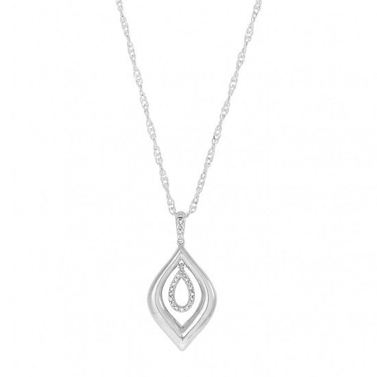 9ct White Gold 0.10 Carat Diamond Double Teardop Pendant