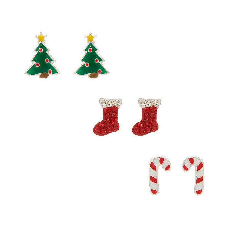 Save- Sterling Silver Christmas Stud Earrings - 3 Pack