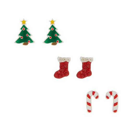 Save- Sterling Silver Christmas Stud Earrings - 3 Pack