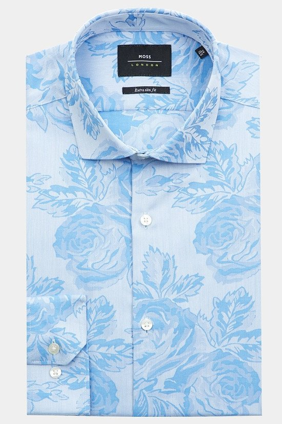 Moss London Extra Slim Fit Blue Single Cuff Floral Jacquard Shirt