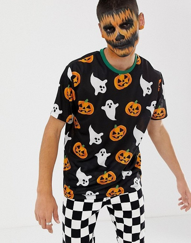 LAST MINUTE COSTUME - ASOS DESIGN Halloween relaxed t-shirt with all over ghost and pumpkin print!