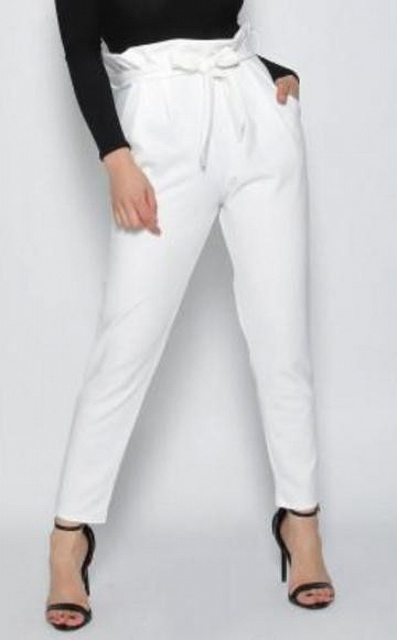 IVORY PLEATED CIGARETTE TROUSERS