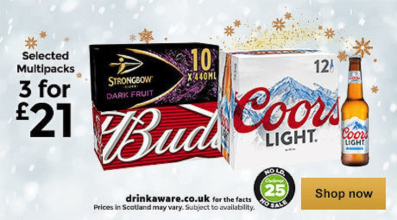 3 FOR £21.00 - On Beer and Cider!
