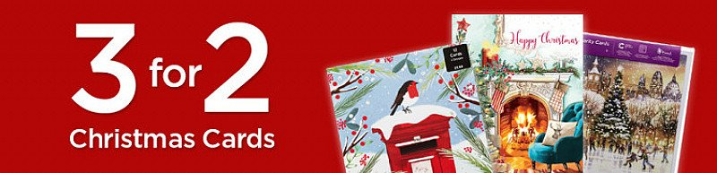 3 FOR 2 On Christmas Cards - Inc. WHSmith Gold Glittered Tree Charity Christmas Cards (Pack of 10)!