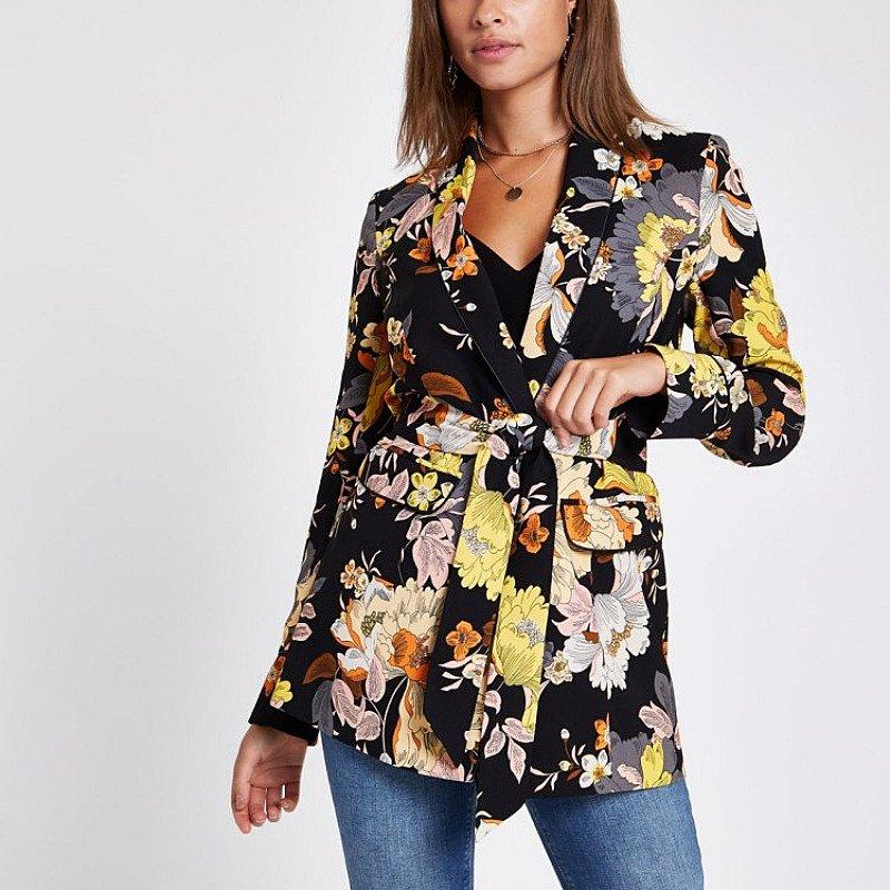 SAVE £30.00 - Black floral print belted blazer jacket!