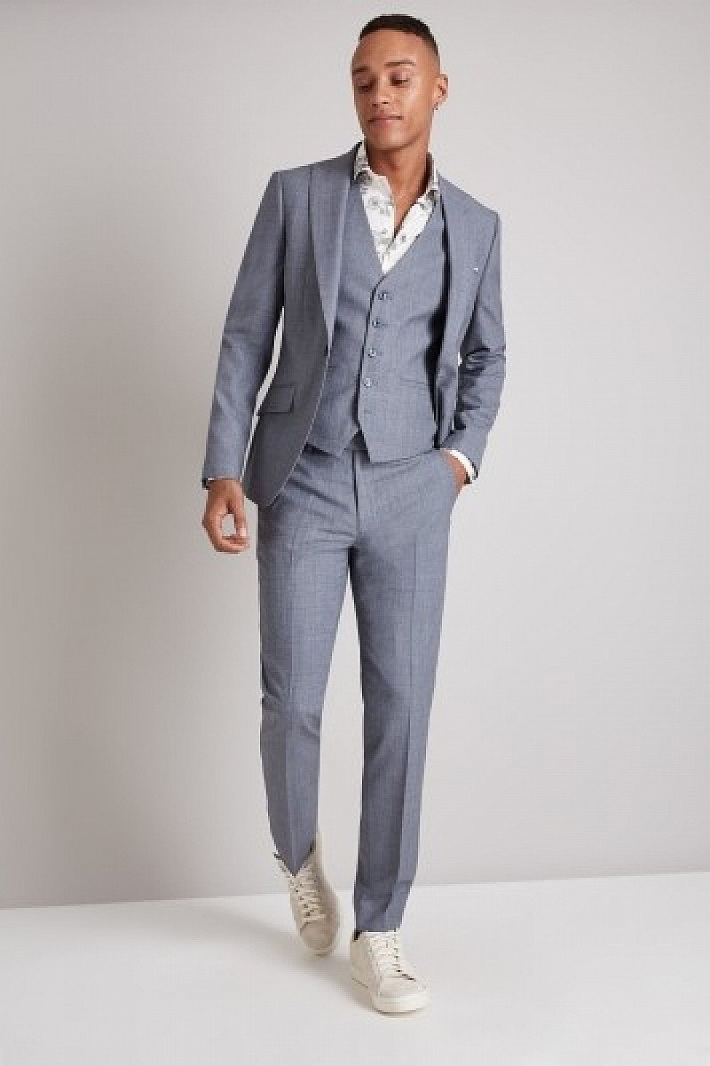 SALE - Moss London Skinny Fit Light Blue Crepe Suit!