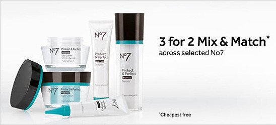 3 for 2 on selected cosmetics, accessories and No7 - cheapest free!