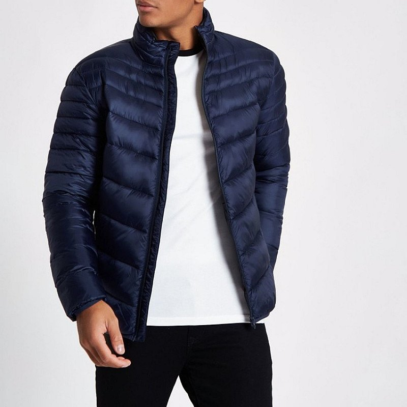 SAVE £15.00 - Navy zip front funnel neck puffer jacket!