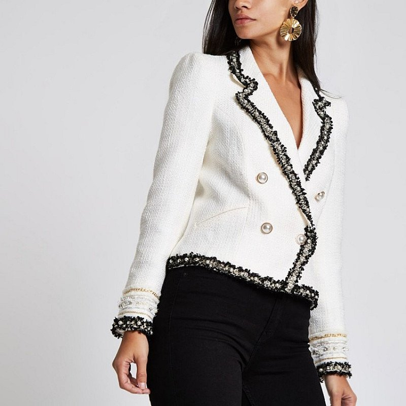 SAVE £45.00 - Cream boucle double breasted contrast jacket!