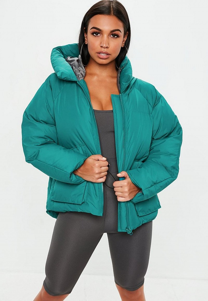 SAVE 50% - teal oversized hooded ultimate puffer jacket: QUICK, GOING FAST!