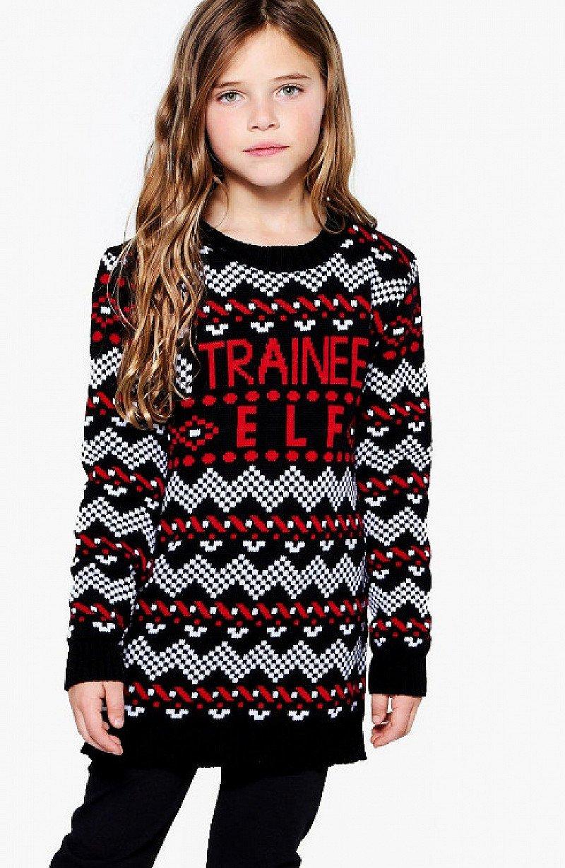 GET 85% OFF - Girls Trainee Elf Knitted Dress!