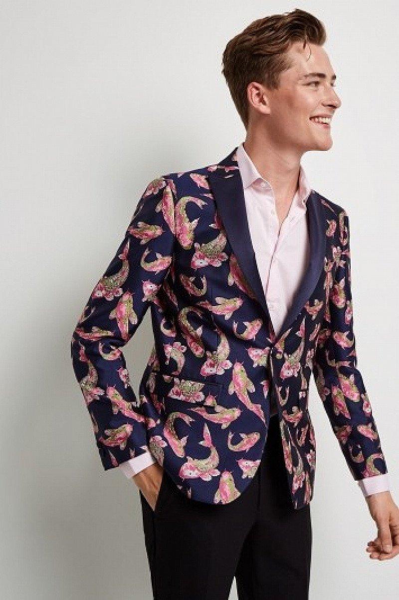 CLEARANCE ON JACKETS - Moss London Skinny Fit Fish Jacquard Dress Jacket!