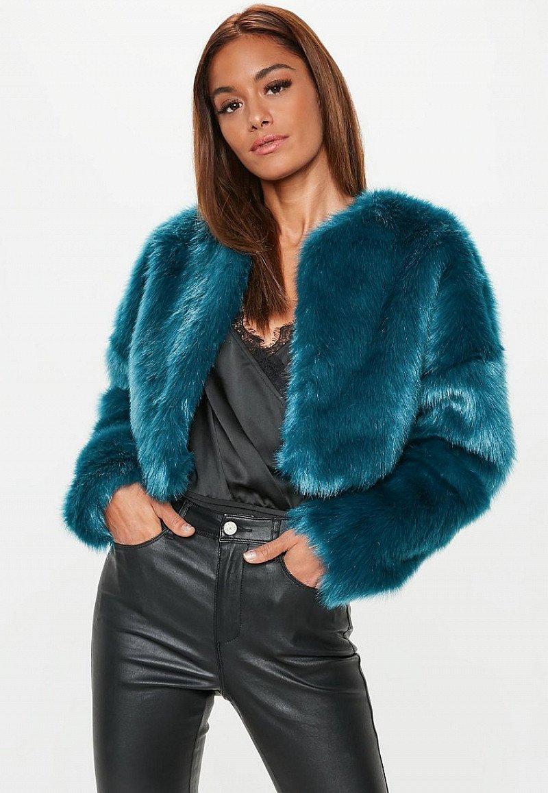 GET 50% OFF - teal collarless faux fur coat!