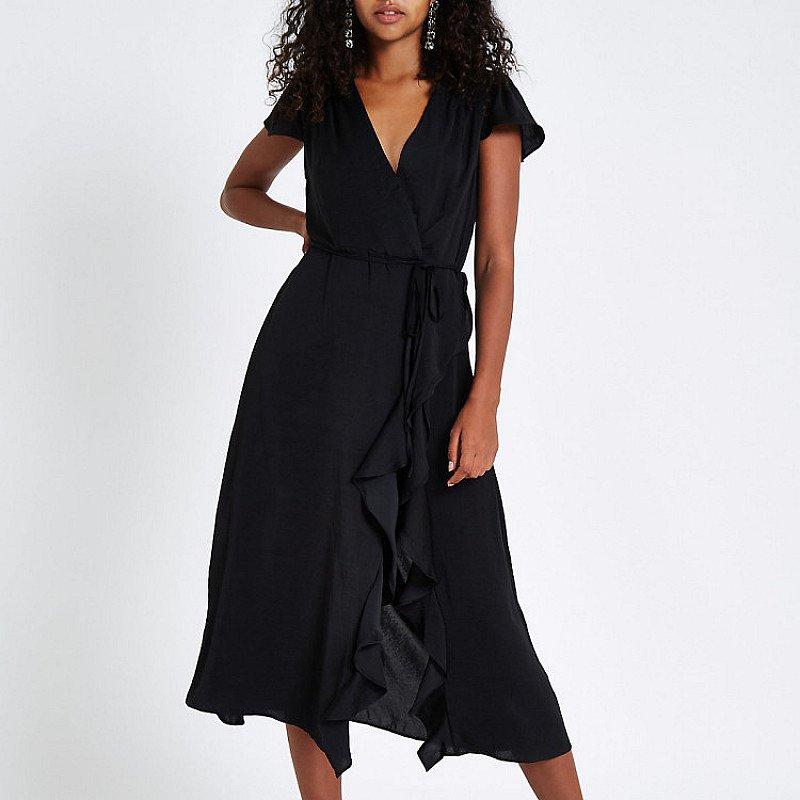 SAVE £30.00 - Black frill wrap front midi dress!