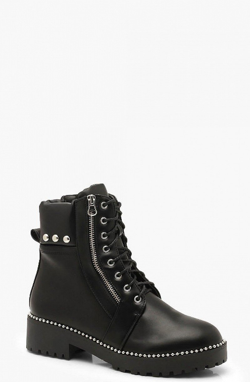 SAVE 30% on these Studded Zip And Lace Up Hiker Boots!