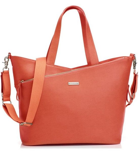 SAVE £50.00 - Storksak Lucinda Leather Tote Changing Bag - Sunset Orange!