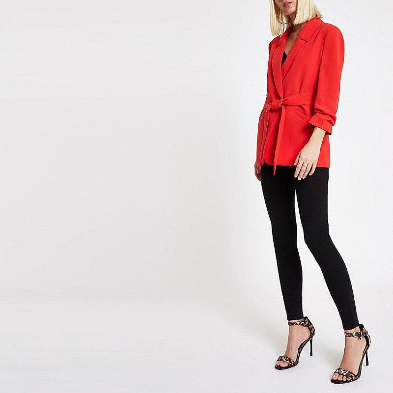 SAVE £30.00 - Red ruched sleeve tie waist blazer!