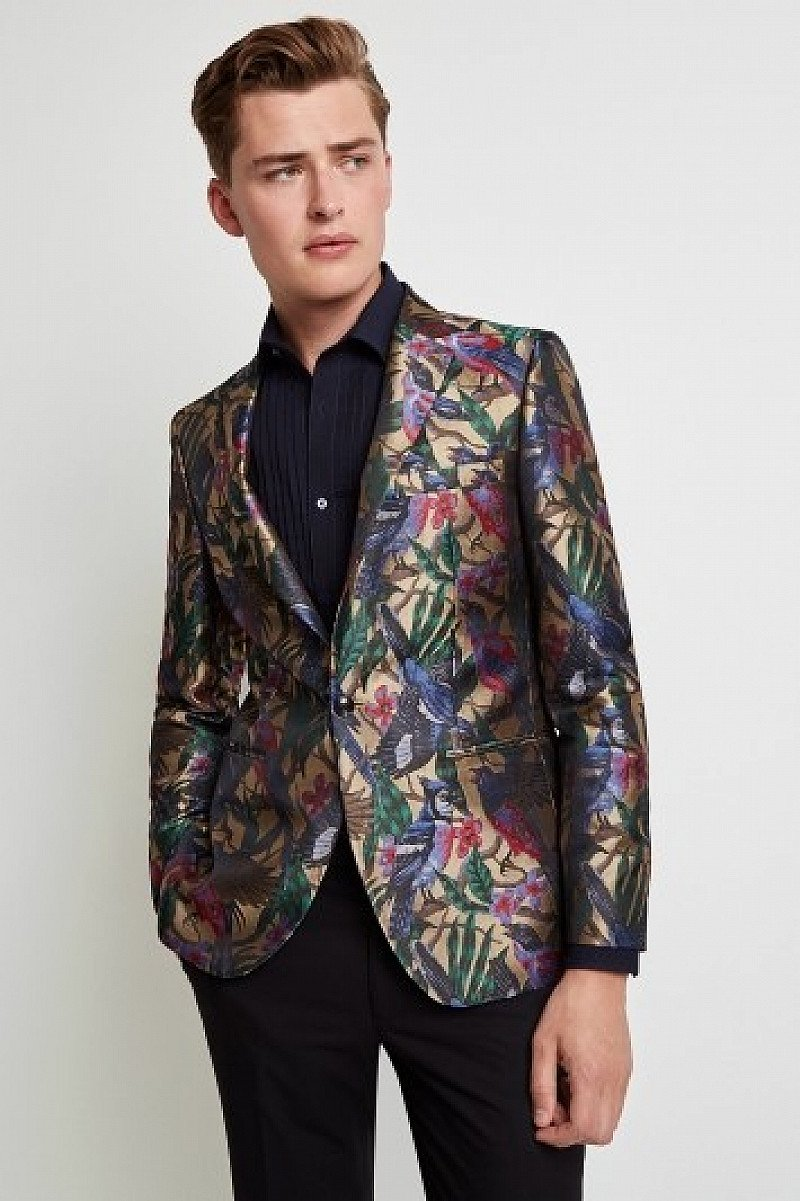 SAVE A WHOPPING £100.00 - Moss London Skinny Fit Bird Jacquard Dress Jacket!