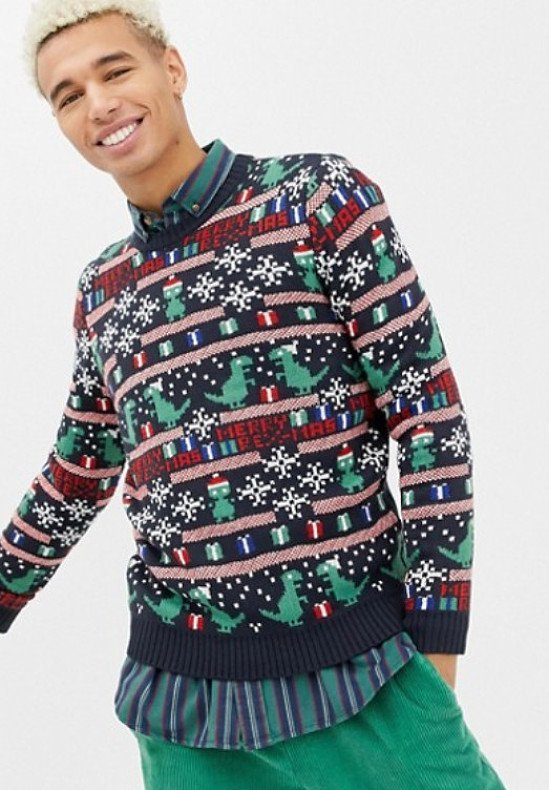Only & Sons christmas jumper with novelty fairisle