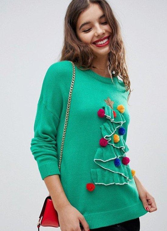 Brave Soul tree christmas jumper with pom poms