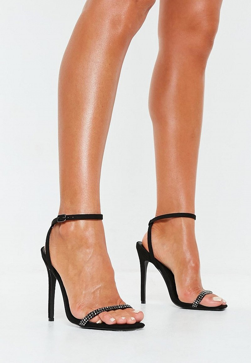 #TRENDING - black embellished strap barely there heels £28.00!
