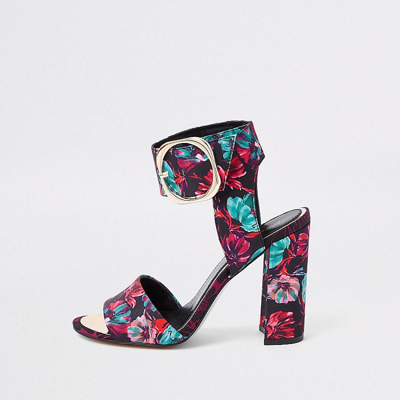 SAVE £15.00 - Black floral print block heel sandals!