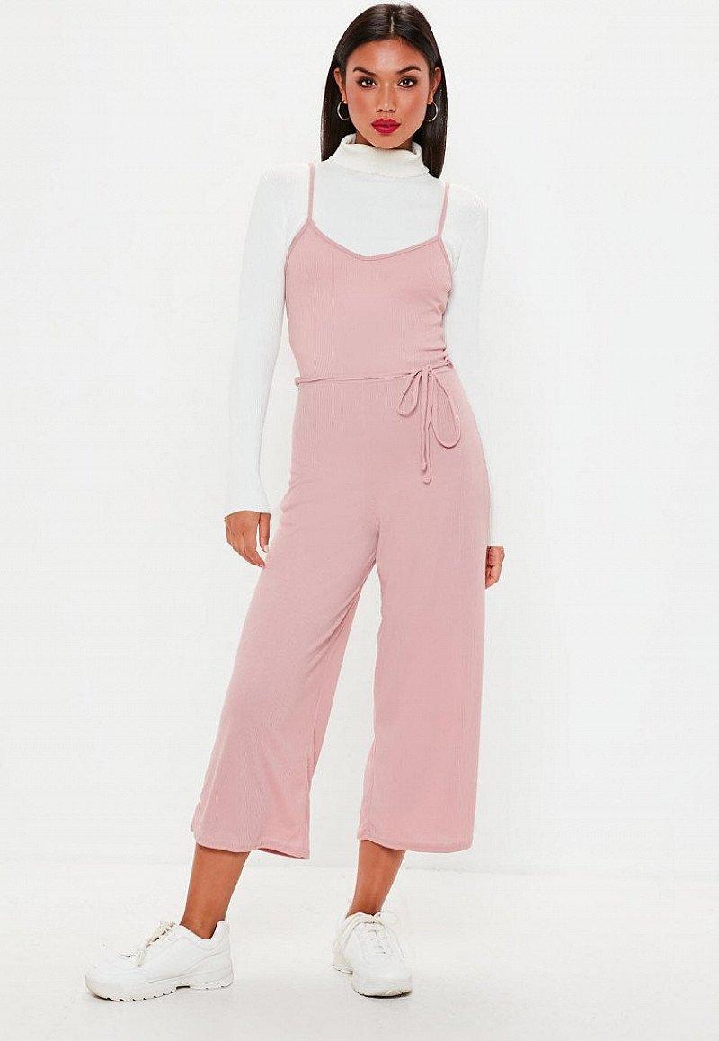 SALE - pink ribbed culotte jumpsuit!