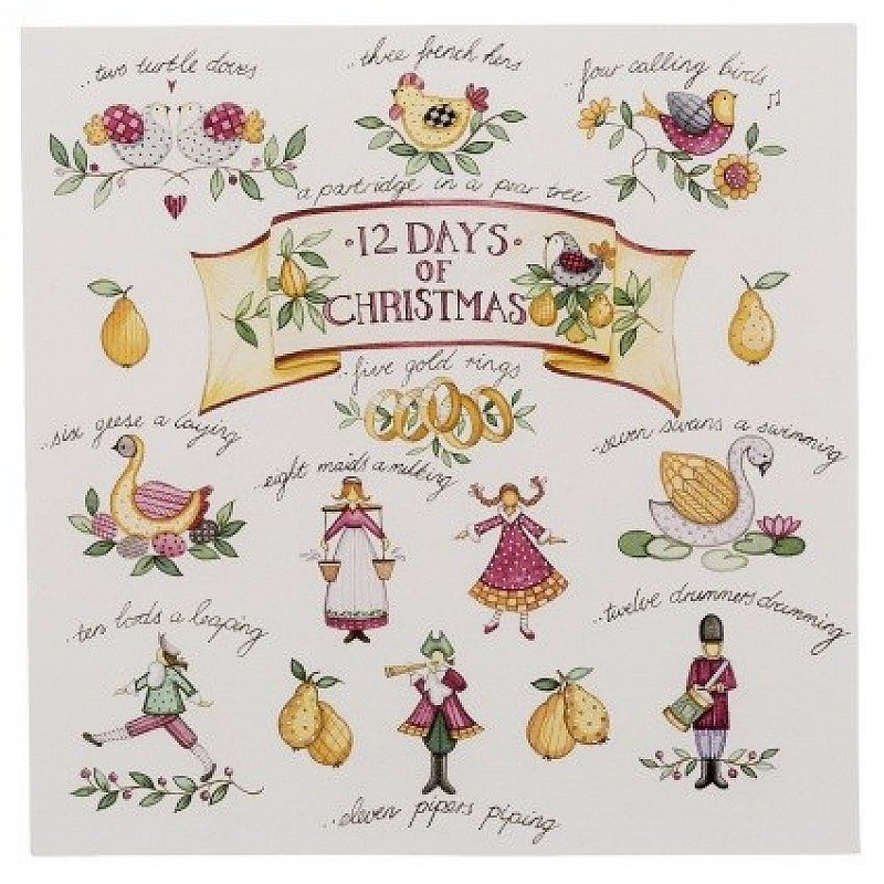 YOU SAVE 30% - WHSmith Twelve Days of Christmas Charity Christmas Cards (Pack of 10)!