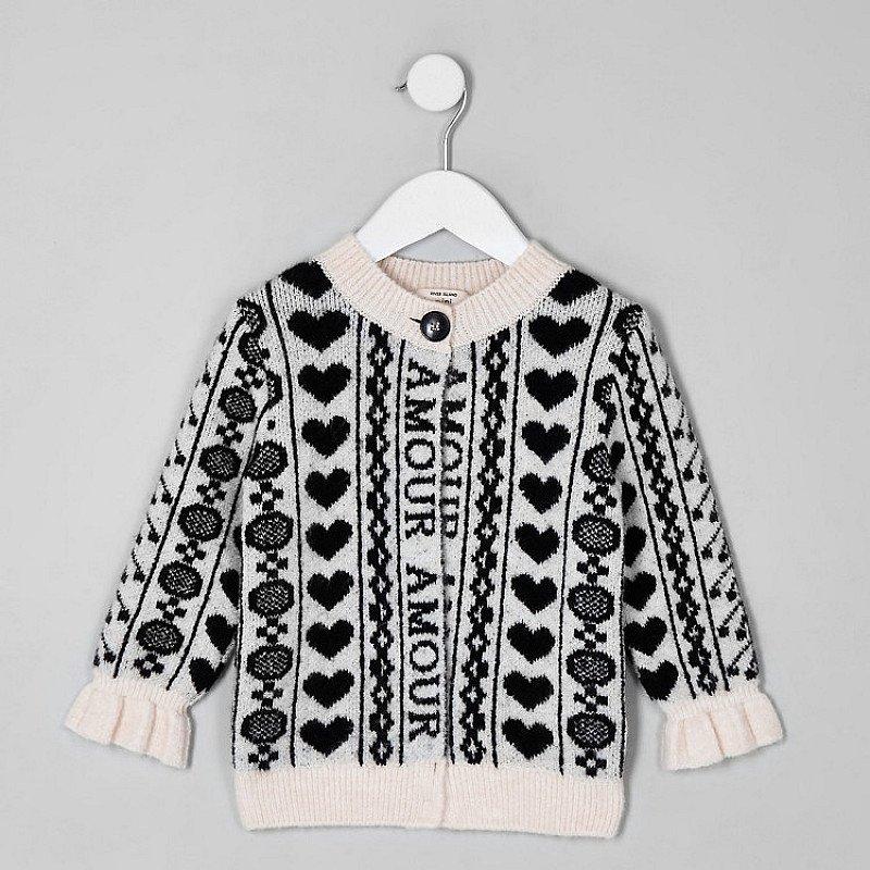 SALE, SAVE £6.00 - Mini girls black 'amour' print cardigan!