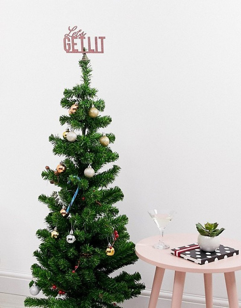 SHOP THE CHRISTMAS SECTION - Typo Christmas Lets get lit tree topper: £2.50!