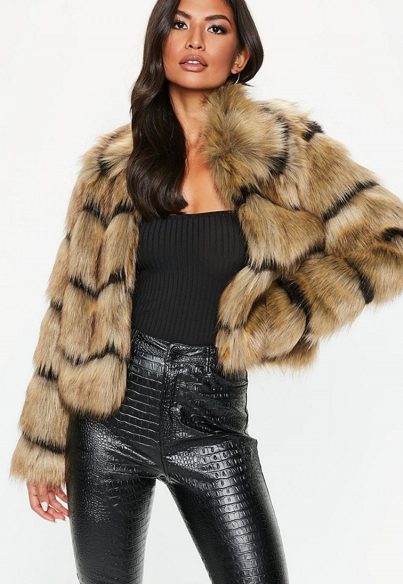 SALE, GET £15.00 OFF - brown faux fur stripe coat!