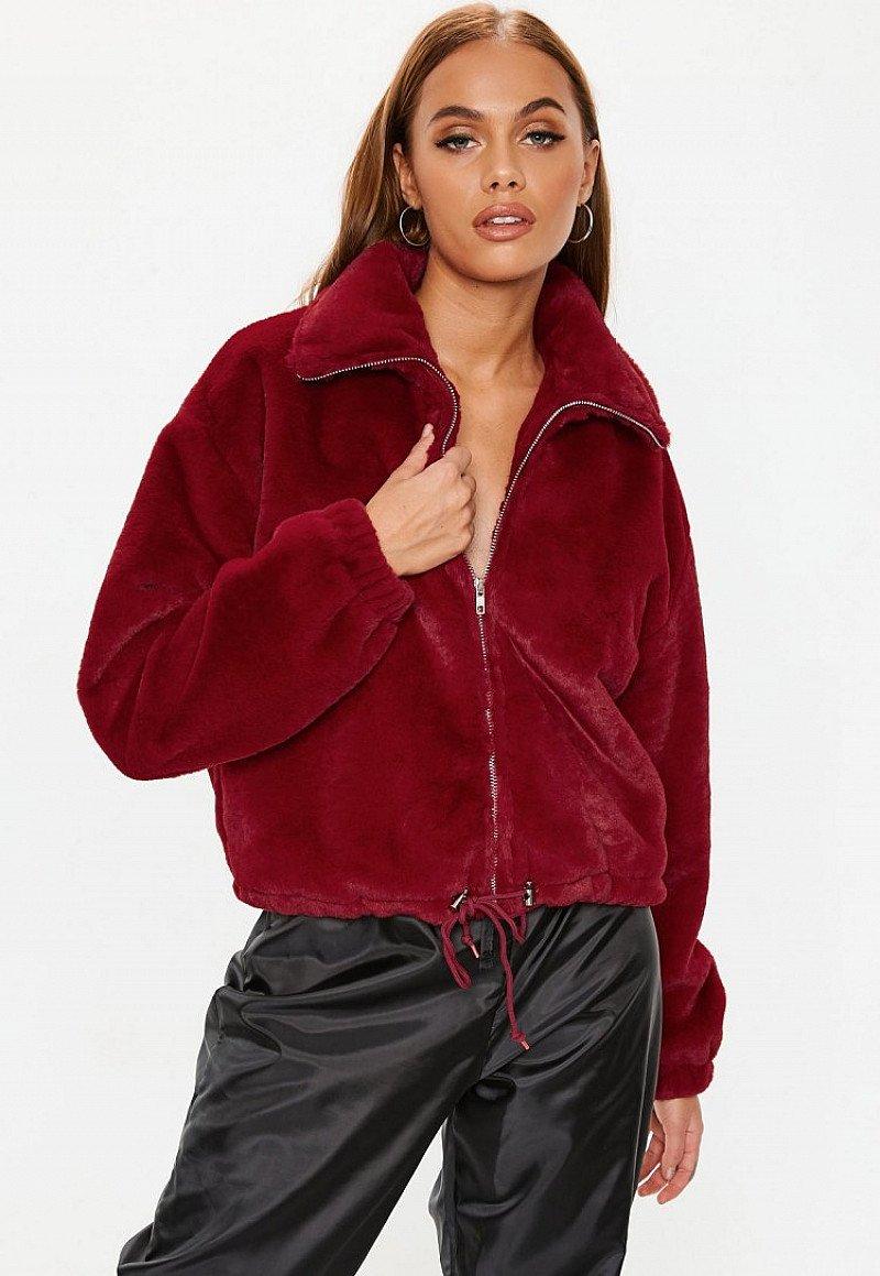 SALE, GET £6.00 OFF - red faux fur bomber jacket!