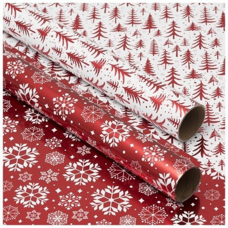 SAVE 30% - WHSmith Red Trees & White Snowflakes Christmas Wrapping Paper!
