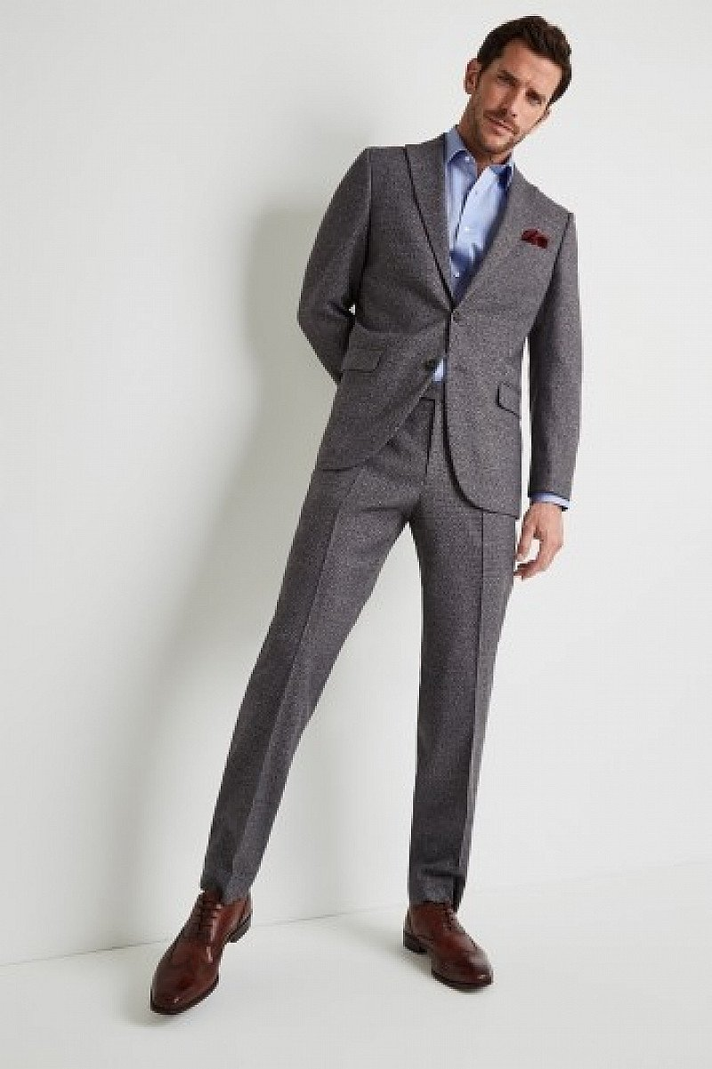 SAVE - Moss Esq. Regular Fit Charcoal Puppytooth Suit!