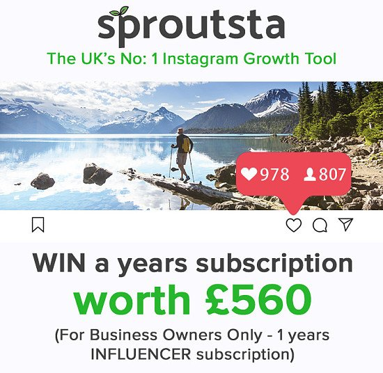 WIN a Years Subscription to Sproutsta - UK's #1 Instagram Growth Tool