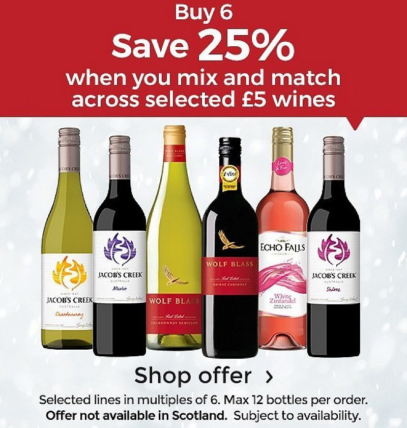 SAVE 25% When you Buy 6 Bottles Of £5 Wine!