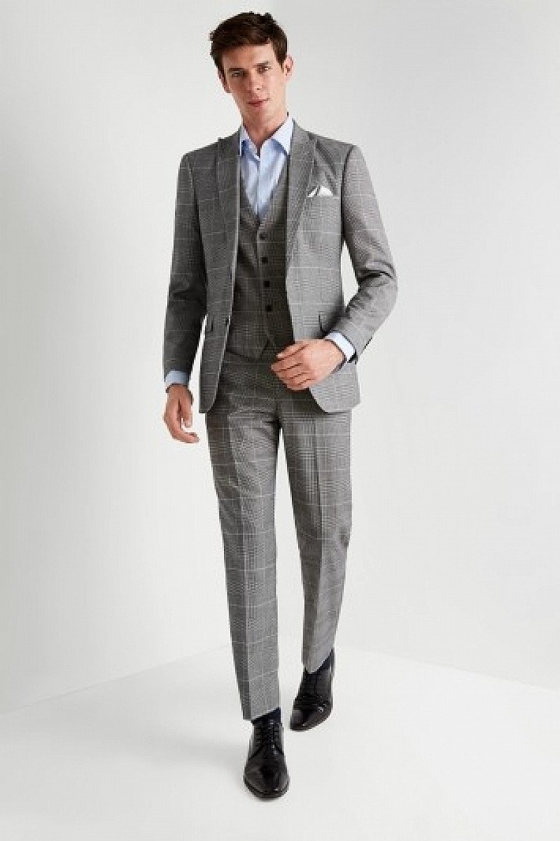 SALE, BIG CHRISTMAS SAVINGS - Moss Esq. Regular Fit Black and White Check Suit!