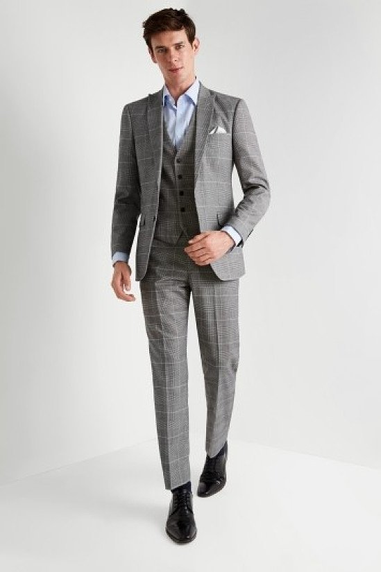 SALE, BIG CHRISTMAS SAVINGS - Moss Esq. Regular Fit Black and White Check Suit!