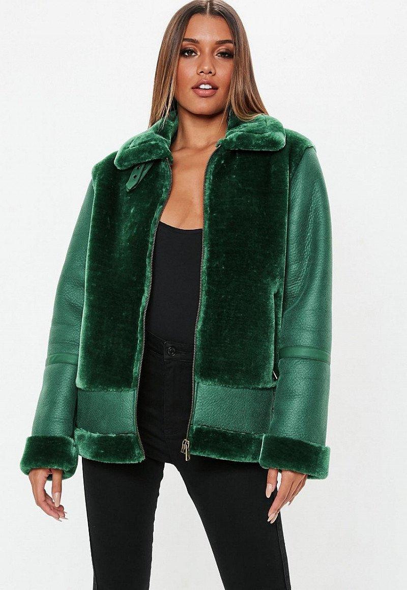 SALE, GET £30.00 OFF - green faux fur ultimate aviator!