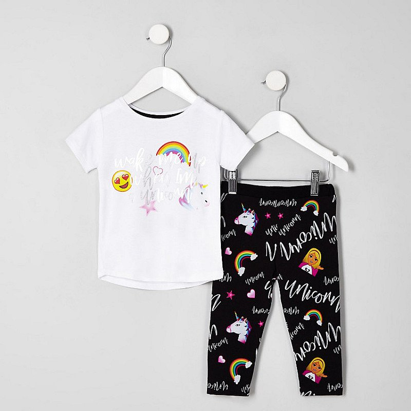 GET UP TO 40% OFF GIFTS FOR CHILDREN - Mini girls white 'Wake me up' unicorn pyjamas: Save £4.00!